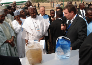 Official commission in Nigeria. Water before and after treatment.