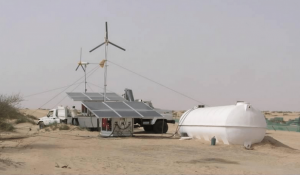 Solar powered desalination system operates under harsh conditions in the desert.