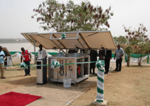 One of six solar powered water treatment systems introduced at a commission in Nigeria