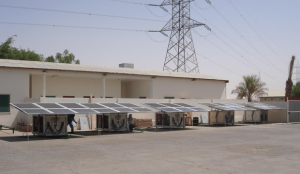 Solar powered desalination systems at storage before delivery to location, Dubai.