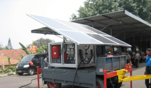 Indonesian boarder police equipped with trailer mounted desalination system